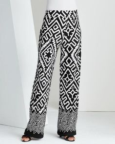 Southwest Border Print Pant -- Easy-fit women's wide-leg pant in a geometric, Aztec-inspired print.