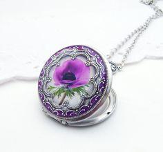 Etsy listing at https://www.etsy.com/listing/189434392/resin-locket-purple-peony-replated