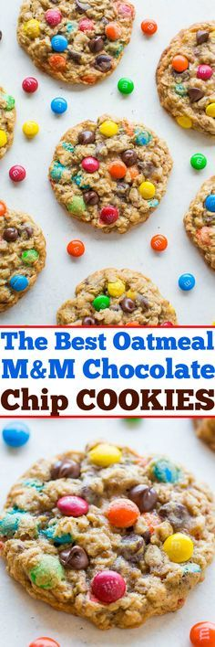 The Best Oatmeal M&M Chocolate Chip Cookies - Soft, chewy, and LOADED with M&Ms and chocolate chips in every bite!! Make them today!