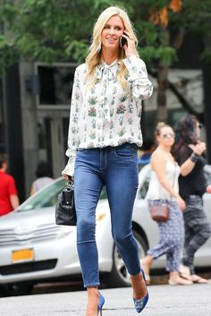 Nicky Hilton wearing Manolo Blahnik Hangisi Pumps, Linea Pelle X Nicky Hilton Chateau Satchel in Black and Valentino Printed Silk-Georgette Blouse