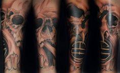 Skull Sleeve Tattoo - http://99tattooideas.com/skull-sleeve-tattoo-3/ #tattoo #tattoos #ink