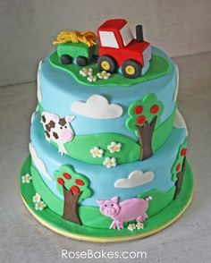 Farm Themed Cake with a Tractor Cake Topper | http://rosebakes.com/farm-themed-cake-with-a-tractor-cake-topper/