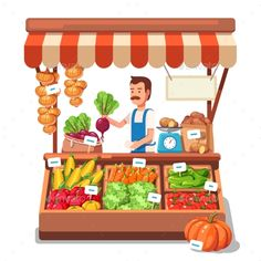 Local market farmer selling vegetables produce on his stall with awning. Modern flat style realistic vector illustration isolated on white background. Fruit Logo, Pics Art, Flat Illustration, Illustrations, Farmers Market, Paper Dolls, Character Design, Clip Art, Marketing