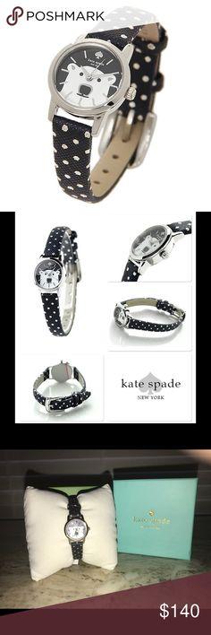Kate Spade Polar Bear Metro Watch Kate Spade Polar Bear mini metro watch.  Navy Polka Dot leather.  Super Cute!  Brand new. kate spade Accessories Watches