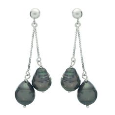 Imperial Pearls For You 14k Gold Tahitian Pearl Dangle Earrings