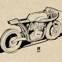 downshiftstudio: I've been very fortunate to be working on some cool projects this past week. @ianhalcott has some fun things cooking, stay tuned!!! #caferacer #motonerd #design #motorcycle #croig #caferacersofinstagram #whothefuckisianhalcott #illustration #sketch #sketchbookpro + #surfacepro3