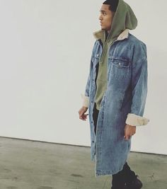 12caa67fe232 Jordan Clarkson Wears Fear of God Collection Denim Coat After Lakers Game