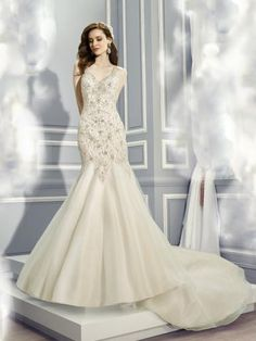elegant&luxurious V-neck tulle and satin wedding dress chapel train bridal dress with caped sleeve