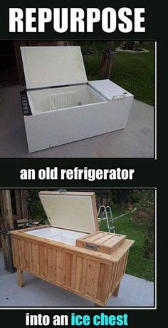 Take an old frig and convert it into a cooler.. COOL... ☺