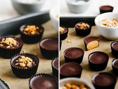 Crunchy dark chocolate peanut butter cups | Oh, Ladycakes