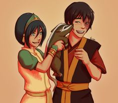 Toph making Zuko laugh by yinza on DeviantArt