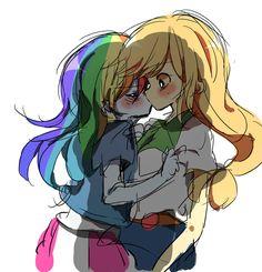 #1102086 - appledash, applejack, artist:lotte, blushing, cute, dashabetes, equestria girls, happy, humanized, jackabetes, kissing, lesbian, pixiv, rainbow dash, safe, shipping - Derpibooru - My Little Pony: Friendship is Magic Imageboard