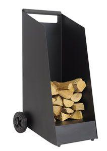 Great deign on the firewood cart - Kaminholzwagen KNWOOD3003 schwarz lackiertes Stahlblech, schwarze Gummiräder, schwarzer Holzgriff