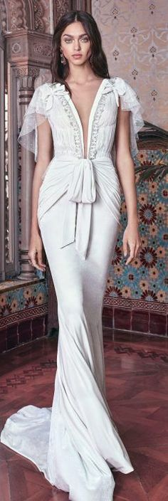 galia lahav spring 2018 bridal circular sleeves deep plunging v neck lightly embellished bodice grecian elegant sheath wedding dress open low back sweep train (velvet) mv -- Galia Lahav Spring 2018 Wedding Dresses Wedding Dresses 2018, Wedding Dress Styles, Wedding Attire, Bridal Dresses, Bridal Collection, Dress Collection, Dress Vestidos, Beautiful Gowns, Neue Trends