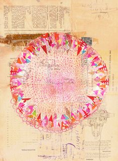 circle collage fine art print by Paula Mills for lovelysweetwilliam, $25.00