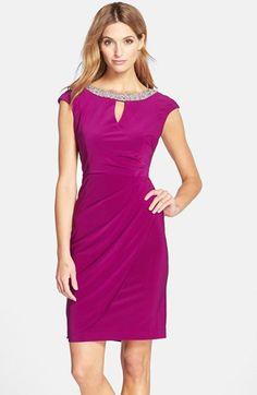 Alex Evenings Embellished Cap Sleeve Sheath Dress (Regular & Petite) available at #Nordstrom