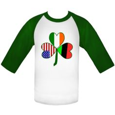 African American Shamrock White and Kelly Green Baseball Jersey   Flags of Nations or Flagnation from Auntie Shoe @auntieshoe   For more tshirts and sweatshirts with the Afrcian American shamrock, please go to: ink.flagnation.com/Shop/African-American.11619/African-American-Shamrock.87469/Custom-T-Shirts.4