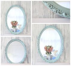 "DECORATIVE VINTAGE MIRRORS Oval Mirror 26""x18"" Decsorative Wall Mirrors Teal Framed Vanity Mirror French Country"