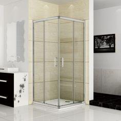 900x900mm Double Sliding Door Shower Enclosure Corner Entry Matt Silver AAD