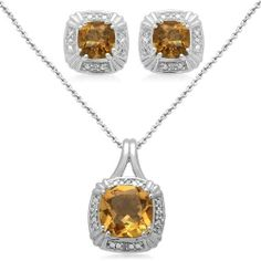 """Sterling Silver Cushion Citrine and Diamond Ring, Pendant Necklace, Earrings Box Set, Size 7 Amazon Curated Collection. Save 56 Off!. $107.00. Length of Pendant:18"""", Length of Ring:0.50"""", Length of Earring:0.25"""". Height of Pendant:0.75"""", Height of Ring:1.03"""", Height of Earring:0.37"""". All our diamond suppliers certify that to their best knowledge their diamonds are not conflict diamonds.. The natural properties and composition of mined gemstones define the unique beauty of each..."""
