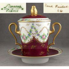 x[SOLD] Trembleuse antique porcelain Limoges. Hand painted and signed