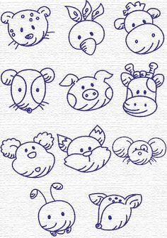 11 animal. Embroidery Designs