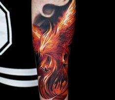 Phoenix Tattoo: modern designs + list of meanings - Tattoo Ideas & Trends Phoenix Tattoo Sleeve, Phoenix Bird Tattoos, Phoenix Tattoo Design, Sleeve Tattoos, Rising Phoenix Tattoo, Tattoo Designs And Meanings, Tattoos With Meaning, Tattoo Designs Men, B Tattoo