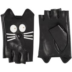Karl Lagerfeld Women Choupette Fingerless Leather Gloves (595 RON) ❤ liked on Polyvore featuring accessories, gloves, black, karl lagerfeld gloves, karl lagerfeld, leather gloves, fingerless gloves and real leather gloves