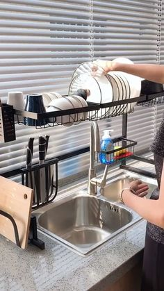 Use this dish drying rack over the sink or on the counter, save tons of space and time by making it easier to access utensils and supplies, water will d Home Decor Kitchen, Diy Kitchen, Kitchen Furniture, Kitchen Interior, Diy Home Decor, Furniture Design, Home Kitchens, Kitchen Utensils, Decorations For Home
