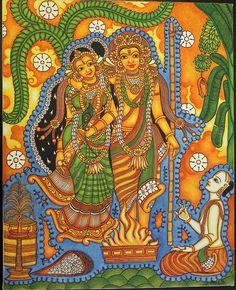 Kerala Mural Painting, Tanjore Painting, Indian Folk Art, Indian Artist, Art Forms Of India, Quirky Art, Madhubani Art, Mural Art, Murals