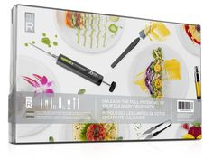 Unleash the full potential of your culinary creativity! MOLECULE-R Flavors® is giving foodies worldwide the food styling toolset they've been waiting for for years.From tweezers to scissors, syringe to scalpel, each high quality tool has been carefully designed and engineered to make styling your culinary creations at home easier than ever. The kit comprises 11 easy-to-use tools and accessories, each with adesignated compartment in the minimalistic, space-efficient included box.This set…