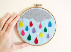 Rain drops embroidery hoop art wall decor Rain of colors Bright and colorful rain home décor Made to order Happy Colors every occasion gift idea