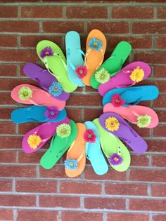 My flip flop state of mind wreath I made today.  So cute for summer!!!