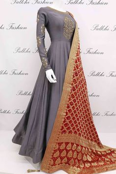 Grey Soft Silk Designer Outfit with Pure Gaji Silk Dupatta Enrich your outlook wearing this stylish grey soft silk outfit with handwork.This gorgeous outfit comes with attractive maroon pure gaji silk dupatta Indian Gowns Dresses, Indian Fashion Dresses, Indian Designer Outfits, Pakistani Dresses, Indian Outfits, Designer Dresses, Anarkali Dress, Anarkali Suits, Lehenga