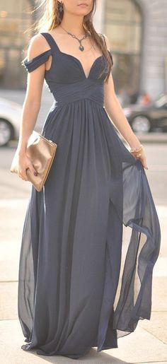Navy Blue Chiffon Prom Dress,Long sleeveless Evening Dress,V-neck Prom Dress ,Charming Prom Dress
