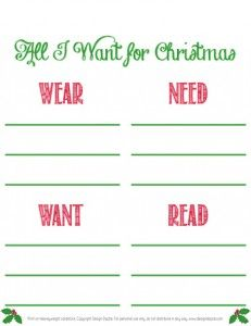 Printable Santa Wish List Interesting Printable Christmas Wish List  Has One For Younger Kids Too With .