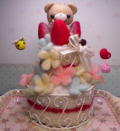 【Mille】Feltneedle wool - 【完成】羊毛大きなケーキにベアちゃん♪の画像 | Feutre-Mille~羊毛フェルト日記~