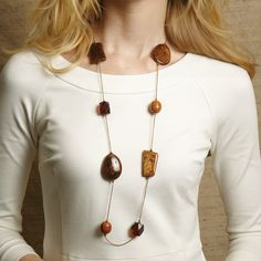 Multi Stone Necklace Assorted 3 Colors © Twos Company
