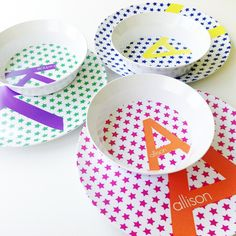 Personalized Star Dish Set - Take these adorable personalized plates on a fun picnic or use them for meals al fresco this summer.