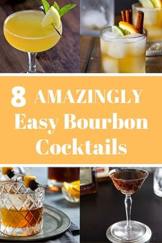 8 EASY Bourbon Cocktails 8 Simple and Easy Bourbon Cocktails! Whether you're looking for summer or winter drinks, or something for a crowd, this collection of whi! Refreshing Summer Cocktails, Spring Cocktails, Easy Cocktails, Bourbon Drinks, Whiskey Cocktails, Summer Bourbon Cocktails, Best Cocktail Recipes, Cocktail Ideas, Best Bourbons