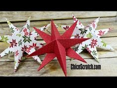 I learned how to make the Christmas Stars at our Stampin\' Up! Convention last week and I could not wait to get home to m Stampin Up Christmas, Christmas Paper, Christmas Tree Toppers, Simple Christmas, Christmas Tree Ornaments, Christmas Stars, Christmas Holidays, Christmas Crafts, Christmas Decorations