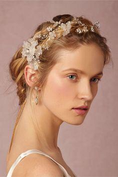 twigs and honey, bridal headpiece, bridal accessories, bhldn, anthropologie weddings, crystal halo, bridal hair