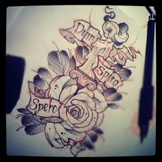 #tattoo #sketch #candle #rose