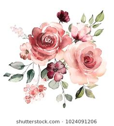 Free Watercolor Flowers, Watercolor Flower Background, Watercolor Rose, Watercolor Cards, Watercolor Illustration, Watercolour Painting, Botanical Illustration, Art Floral, Flower Backgrounds