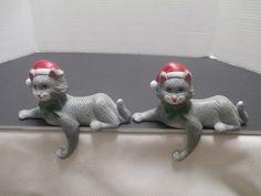 2 Vintage Sun Hill Plastic Cat Christmas Stocking Hanger Kitten Shelf Sitter #SunHill