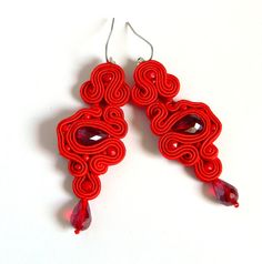 Red earrings statement earrings red crystal by anatydesign on Etsy