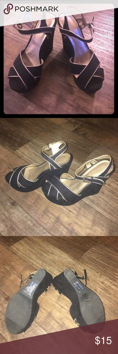 Black & Gold Forever 21 peep toe wedges Gorgeous black and gold peep toe wedges purchased in 2014. In great condition Forever 21 Shoes Wedges