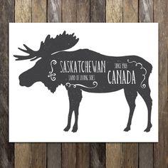 """""""Land of Living Skies"""" Saskatchewan Moose Art Print"""