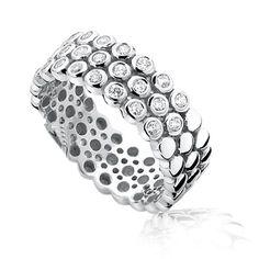 1e Gehalte zilveren ring volop bezet met witte zirconia, Zinzi, nieuw in geschenkverpakking.Zir760
