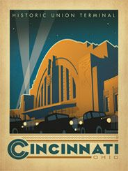 Cincinnati, OH - This dramatic print of Cincinnati's famous Art Deco Union Station Terminal landmark will add a nostalgic touch of class to any room.